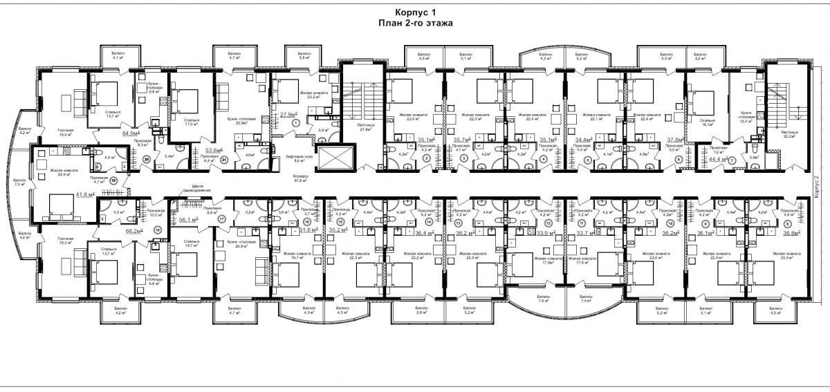 Корпус 1 (типовой этаж)