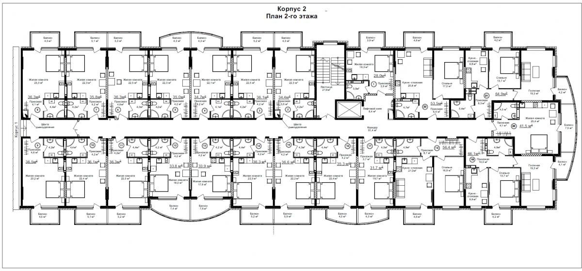 Корпус 2 (типовой этаж)