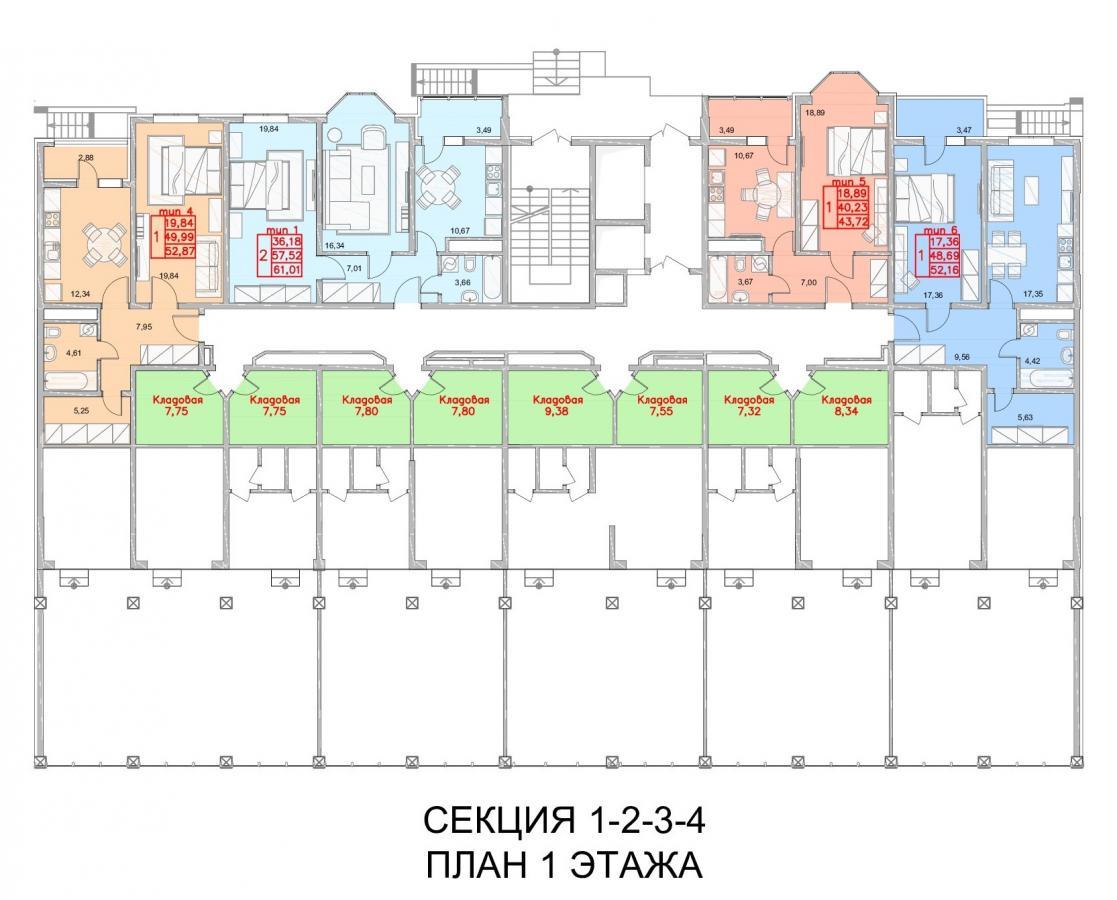 Планировка 1го этажа ЖК Южный квартал, литер 1, 2, 3, 4