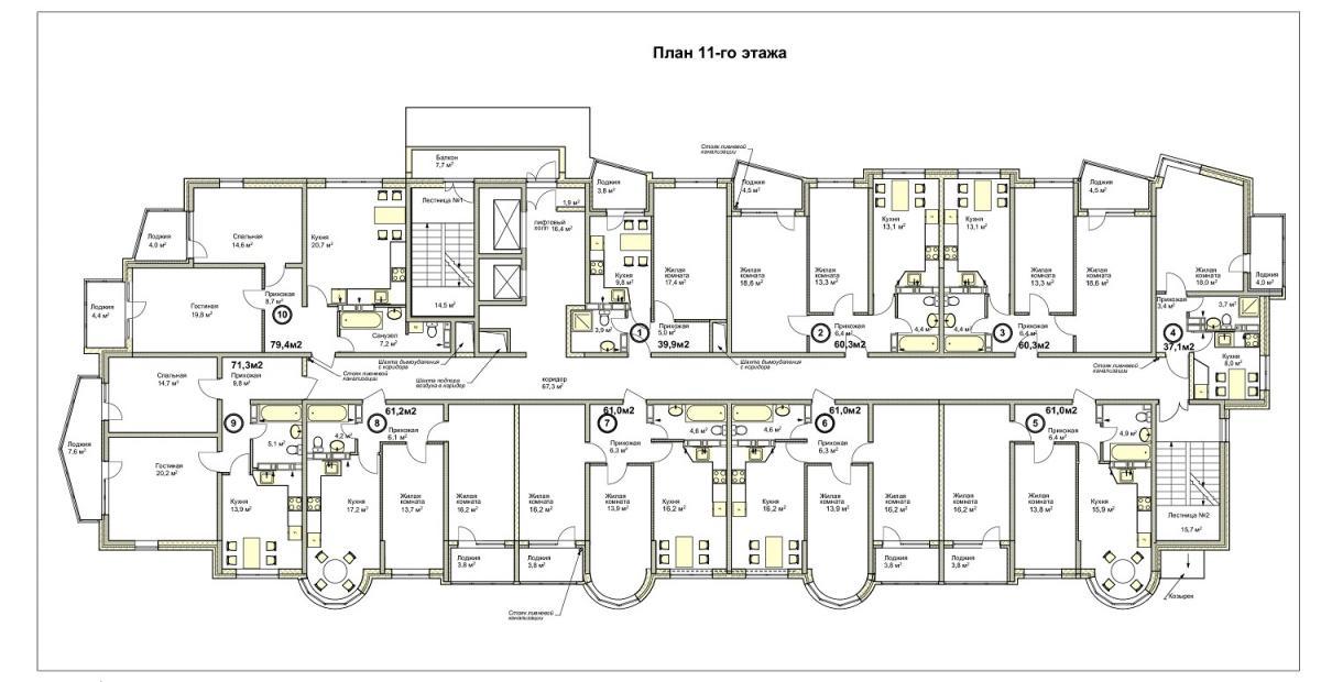 планировка 11 этажа