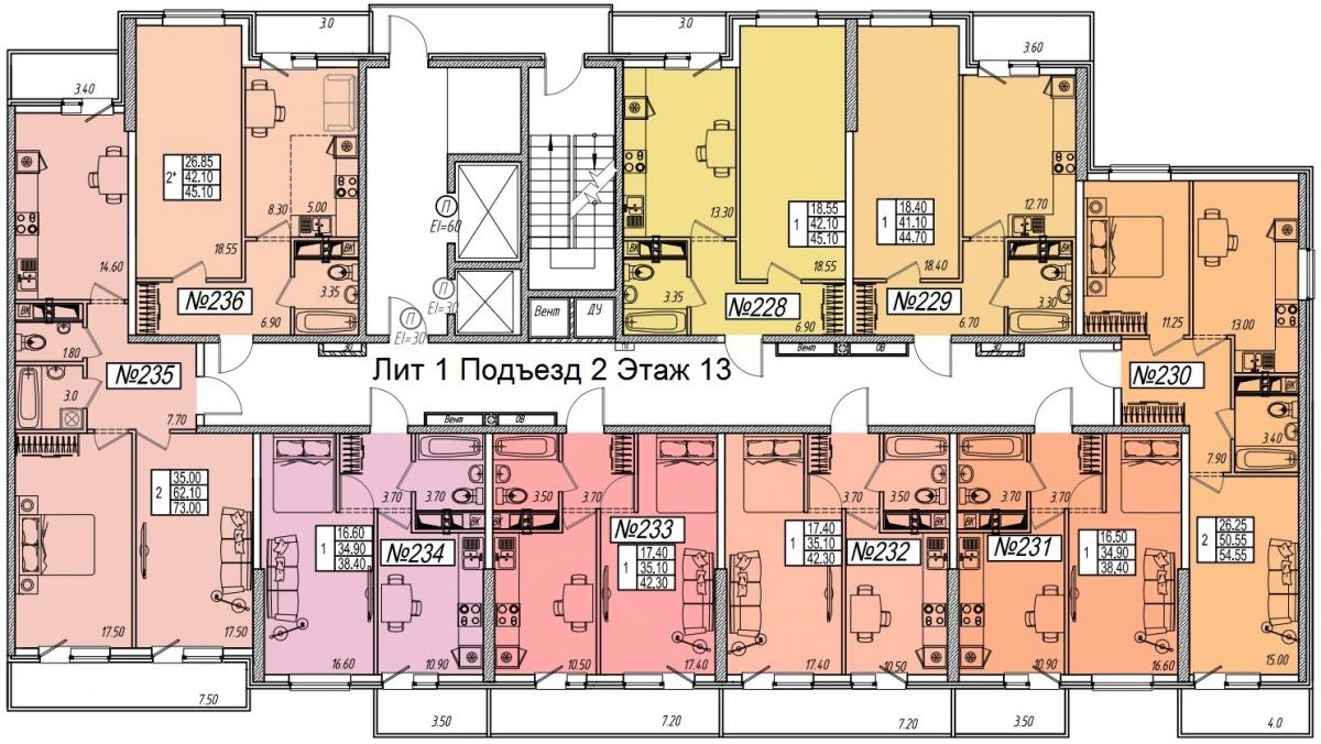 планировка 13 этажа